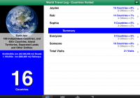 Countries Visited • World Travel Log updated for iPad